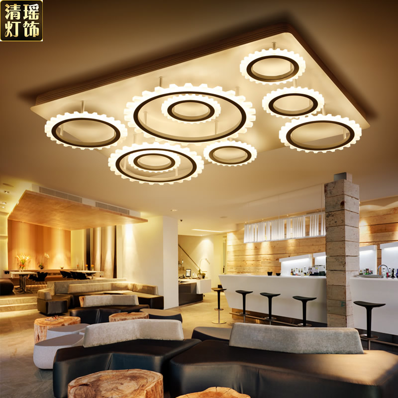 Qing yao acrylic modern minimalist creative led ceiling lamp square gear artistic personality living room master bedroom lights