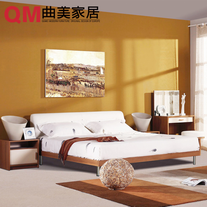 Qu mei furniture home modern bedroom combination bed + wardrobe bedside cabinet + + dresser stool sets home with