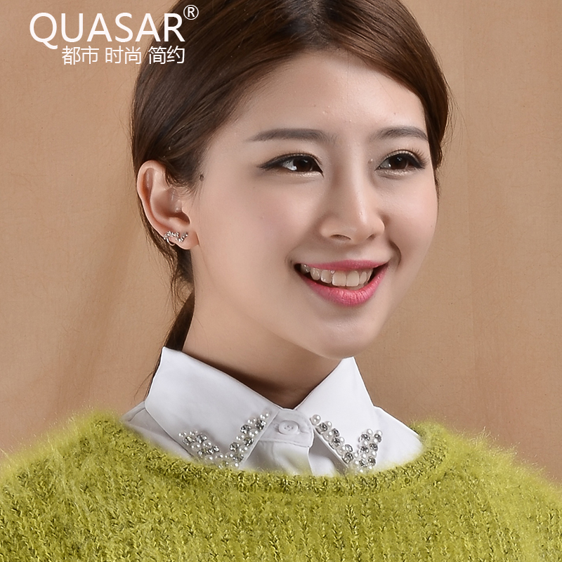 Quasar korean fake collar blouse fake diamond collar spring beading false collar shirt collar white cotton