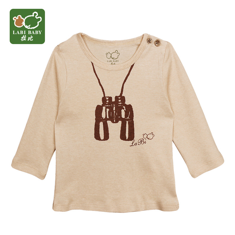 Rabbi rabbi kids 2016 spring new baby boy long sleeve t-shirt shirt casual style shoulder open clothes
