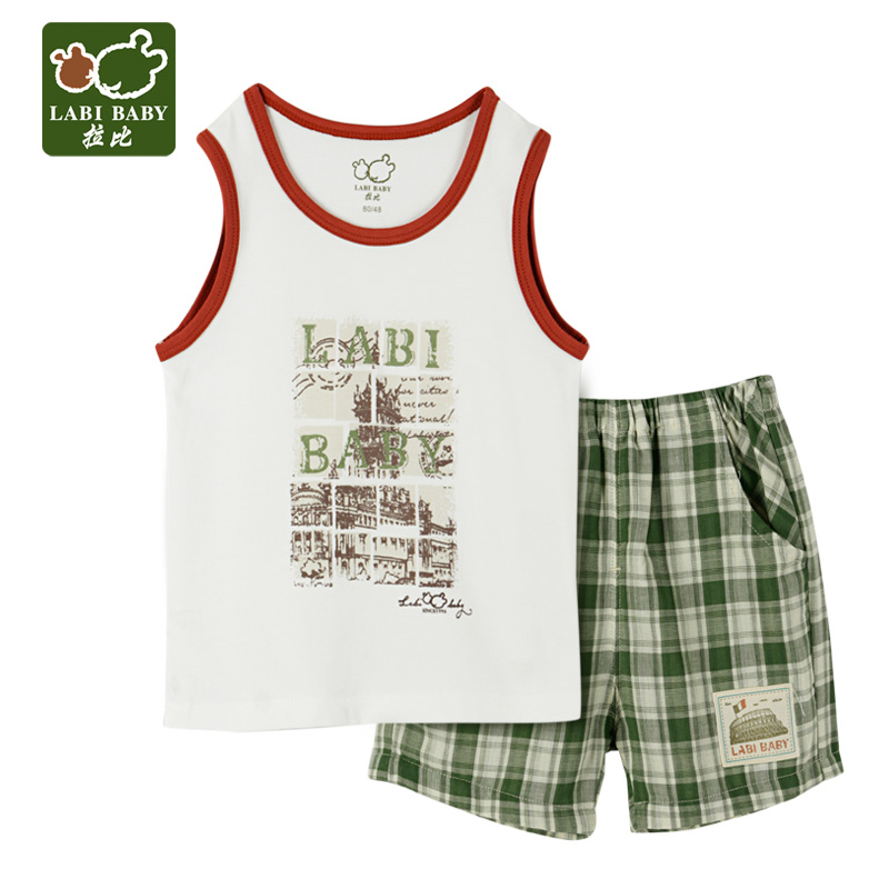 Rabbi rabbi kids 2016 summer new boys vest suit baby t-shirt shorts suit green tone