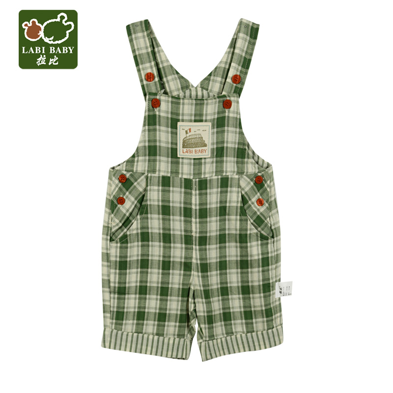 Rabbi rabbi kids 2016 summer new product green style bib overalls cute baby boy casual shorts