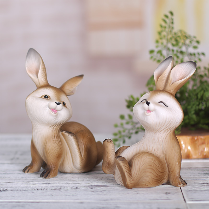 Rabbit home decorations wedding gift resin crafts creative cartoon cute little animal ornaments living room wine cabinet