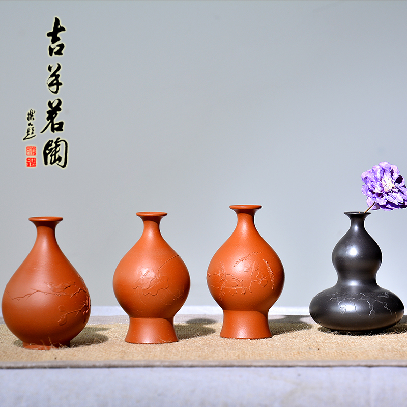 Ram ming tao yixing purple clay vase famous pure handmade zhuni black xingsha pendulum piece tea pet kung fu tea