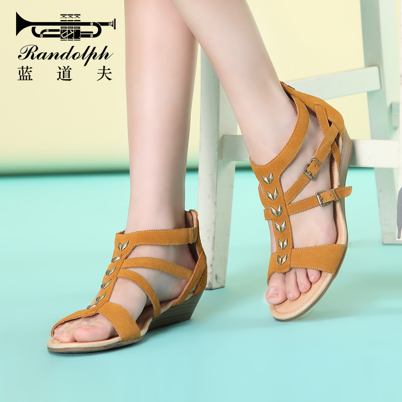 224acd9712349e Get Quotations · Randolph low heel sandals female summer slope with roman shoes  low heel leather zipper leisure comfortable