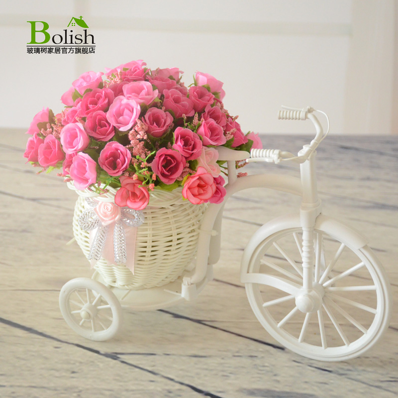 Rattan baskets ornaments small fresh artificial flowers artificial flowers silk flower floral living room table and creative home decor accessories