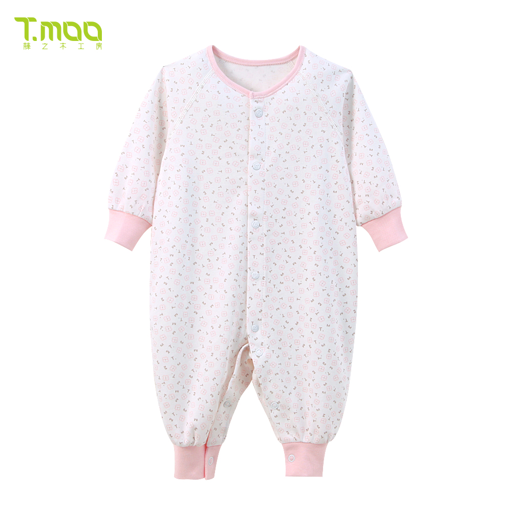 Rattan woodworking room newborn baby coveralls cotton autumn and winter clothing 0-1-year-old treasure treasure romper climbing clothes sack