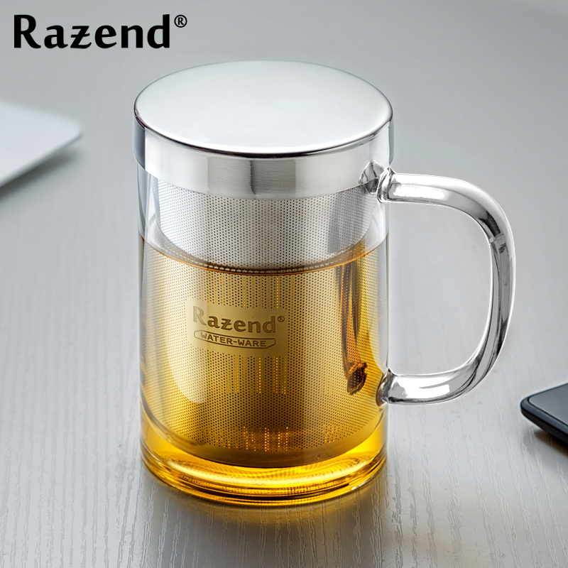 Razend/heat filter glass flower cup cup thick glass cup with the tea cup with lid office