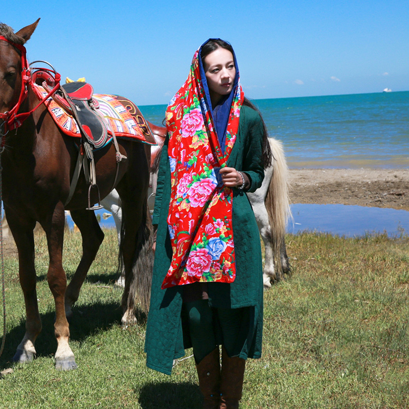 Read your floral long section of national wind autumn scarf shawl dual ms. qinfu when shang tourism scarf dual female