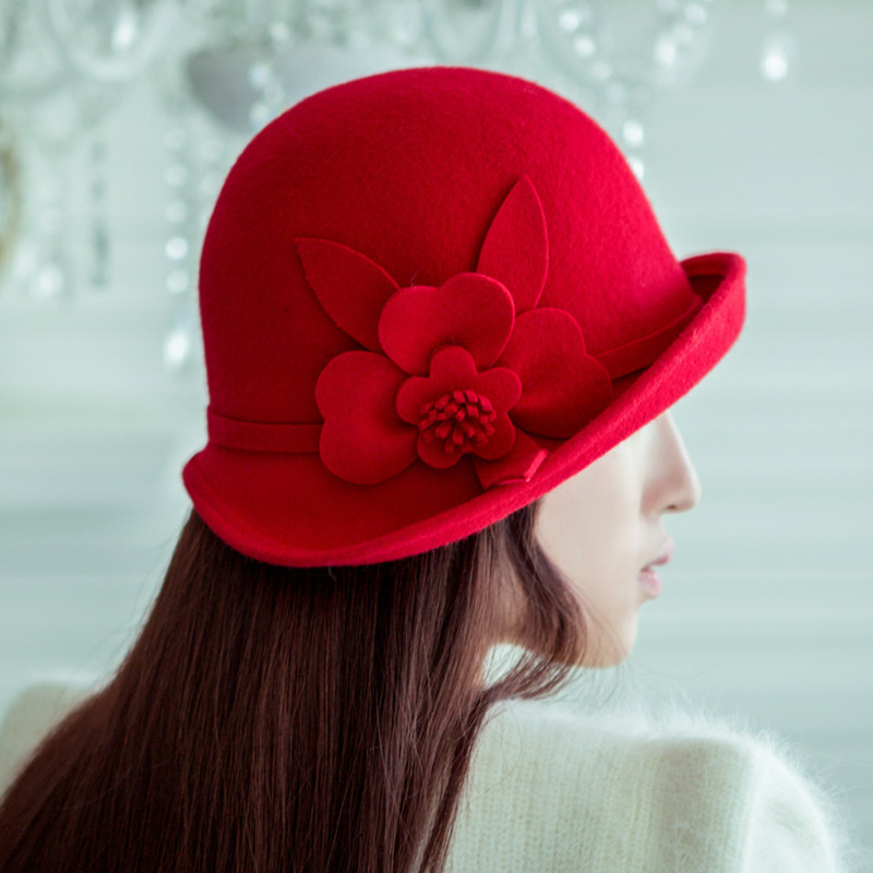 Really enjoy the autumn and winter retro british wool fedora hat ms. burgundy flowers curling dome small pots hat hat