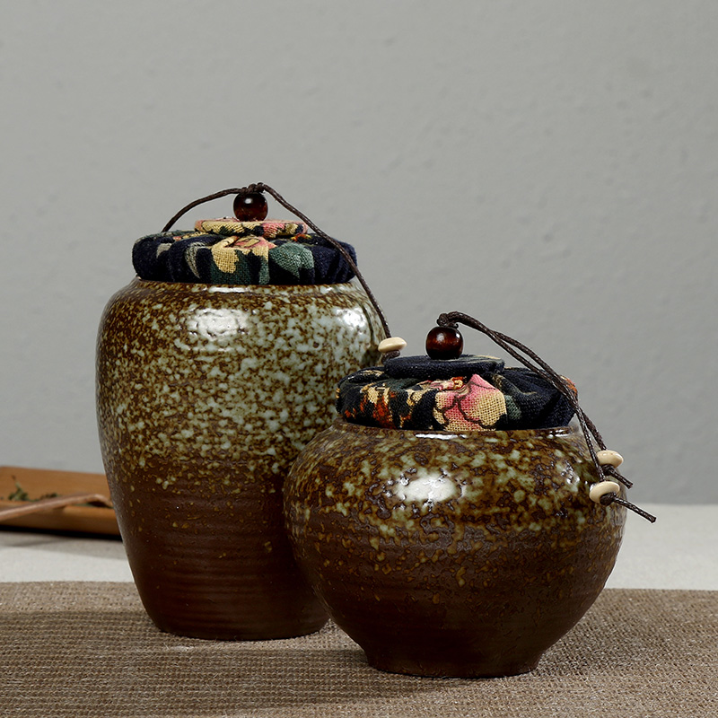 Really sheng cork sealed cans pu'er tea caddy linen tea stoneware ceramic canisters barrels ceramic pot of tea warehouse