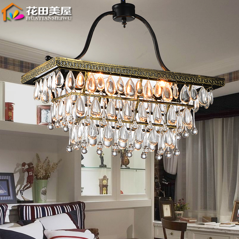 Rectangular crystal chandeliers american restaurant retro rustic wrought iron chandelier bedroom lamp aisle nordic personality living room luxury china