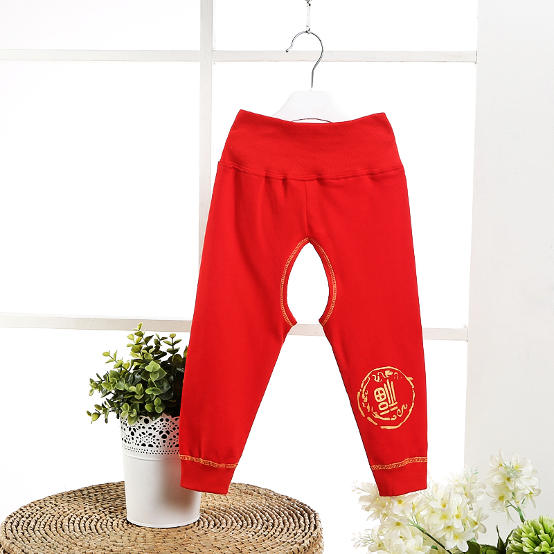 Red autumn baby cotton waist pants crotch guard belly baby care umbilical pants pants underwear bottoming autumn clothes spring and autumn