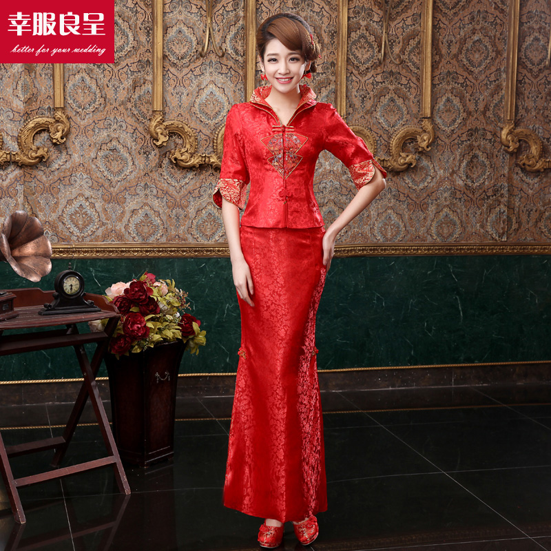 Red cheongsam dress the bride toast clothing chinese wedding dress new 2016 spring and summer long section fishtail wedding dress wedding dress