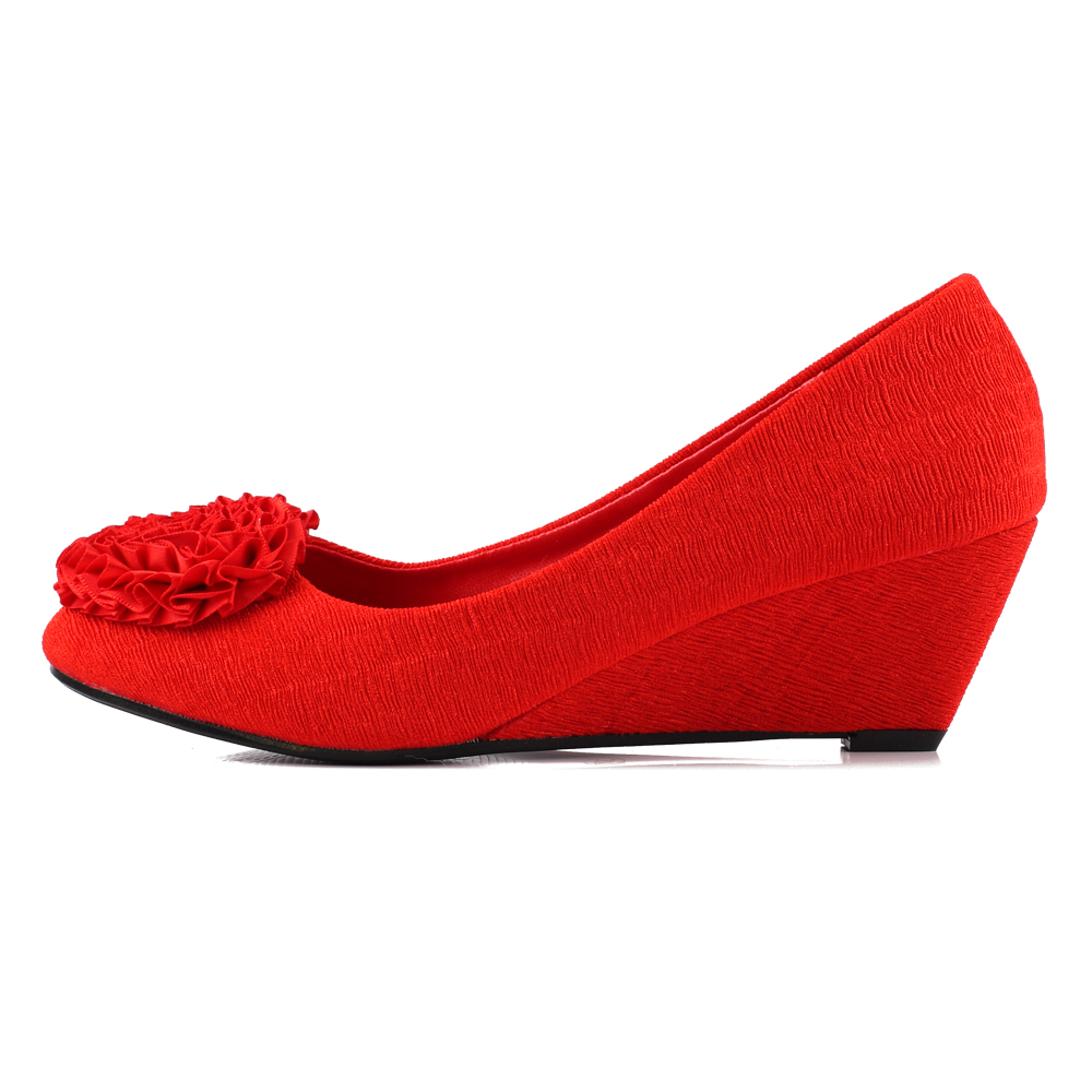 Red cloth comfortable wedge heel bridal wedding shoes wedding shoes bridal shoes dress shoes wedding shoes women shoes