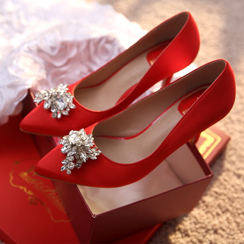 Red diamond pointed high heels shoes wedding shoes crystal wedding shoes bridal shoes red shoes in fine with summer shoes women