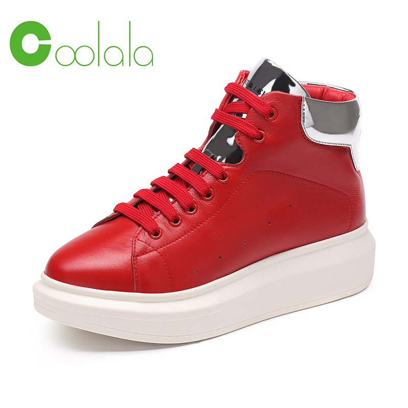 Red dragonfly Coolala2016 autumn new leather leather ms. sports and leisure shoes to help female models high shoes