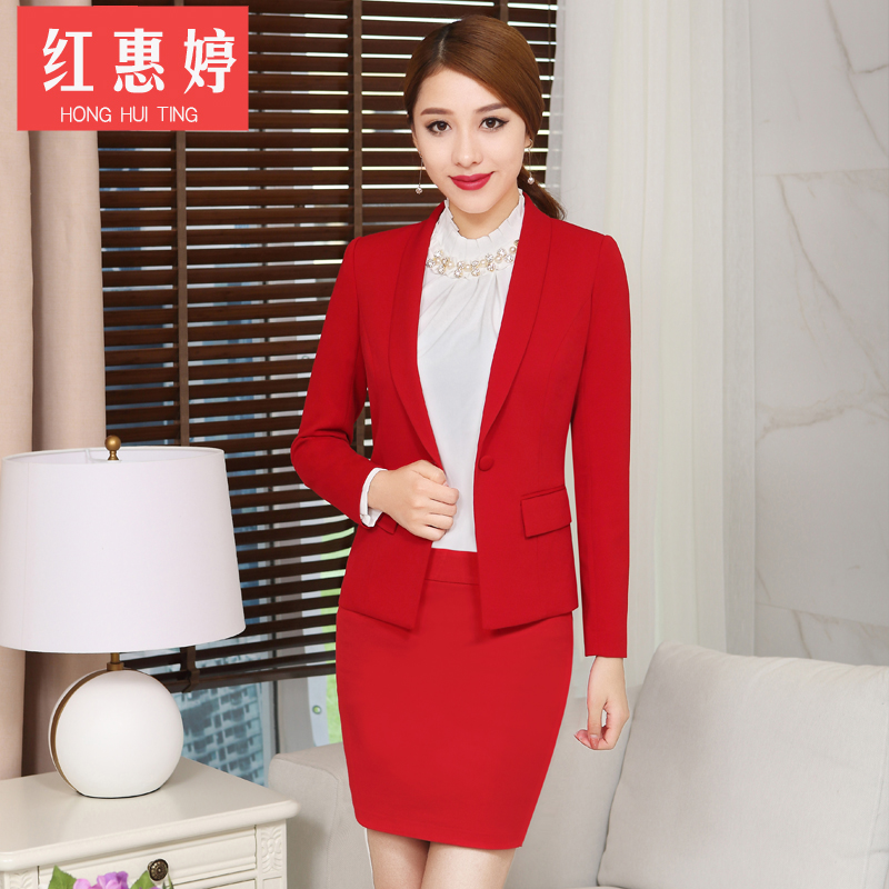 Red huiting temperament career suit suit female korean fashion slim ol wear skirt suits overalls autumn