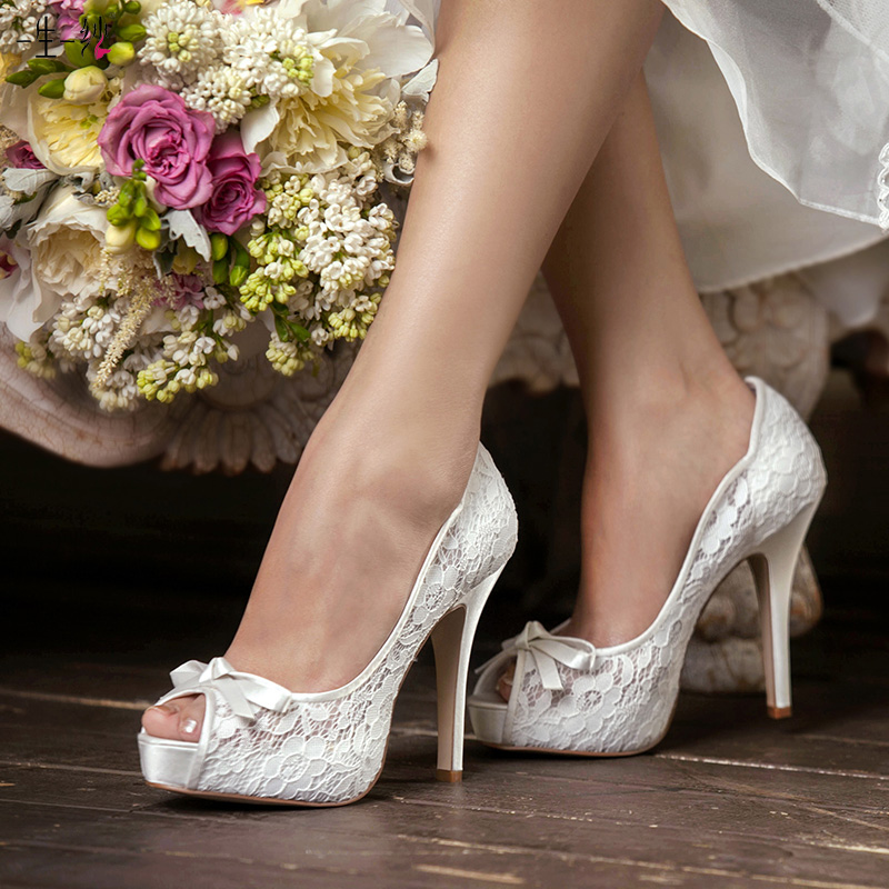 Red lace bridal wedding shoes high heels shoes yan w & du exclusive waterproof taiwan high with fish head wedding shoes