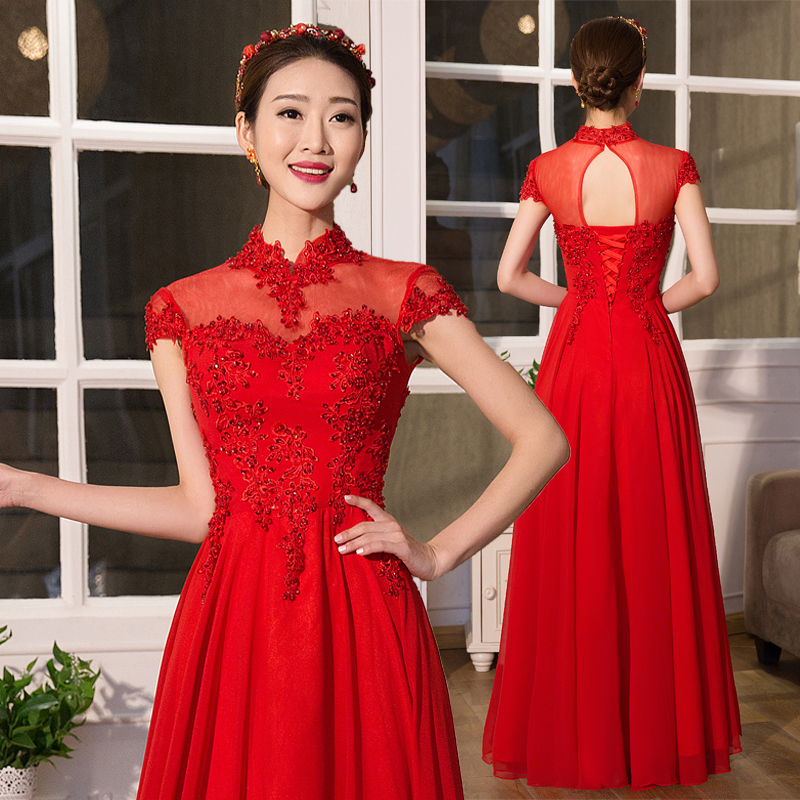 Red spring 2016 new summer wedding dress chinese wedding dress the bride toast clothing long section waist straps women