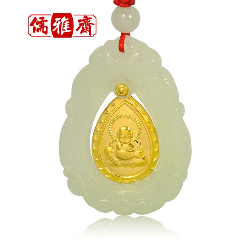 Refined zhai jin xiang yu a cargo of natural emerald buddha pendant for security and peace jade pendant gold limited edition free shipping