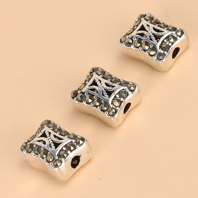 Regards s925 sterling silver thai silver jewelry diy accessories handmade silver hollow pattern cube beads spacer bead bracelets