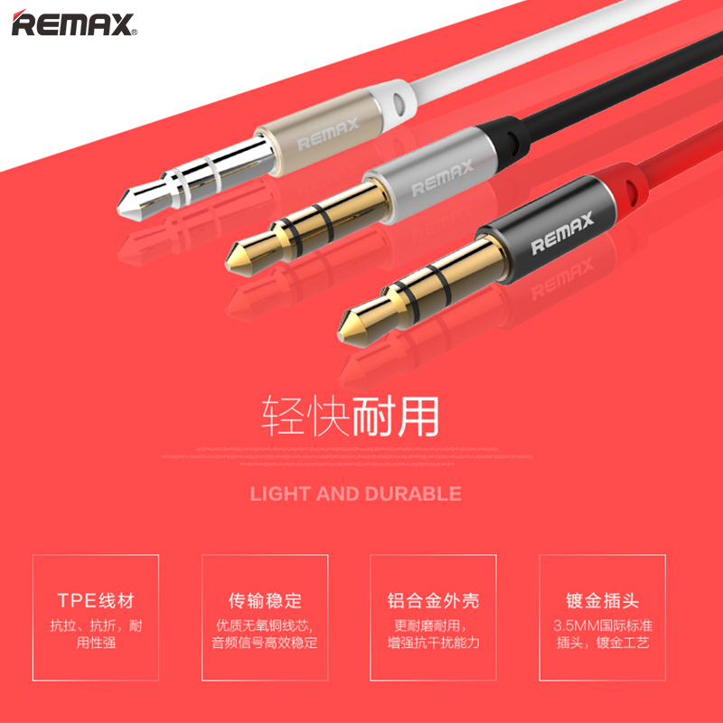 Remax headed aux audio cable headphone cable male to male connector were5mm car stereo 5mm audio cable