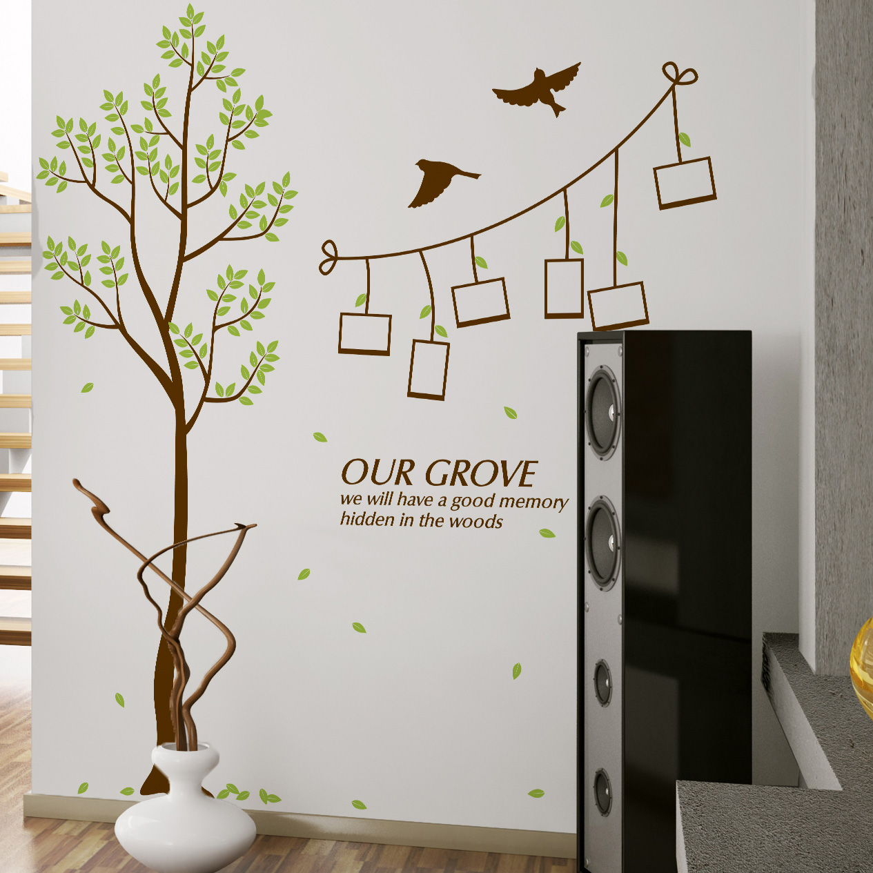 Removable small wood home decor photo wall stickers living room bedroom sofa tv backdrop stickers