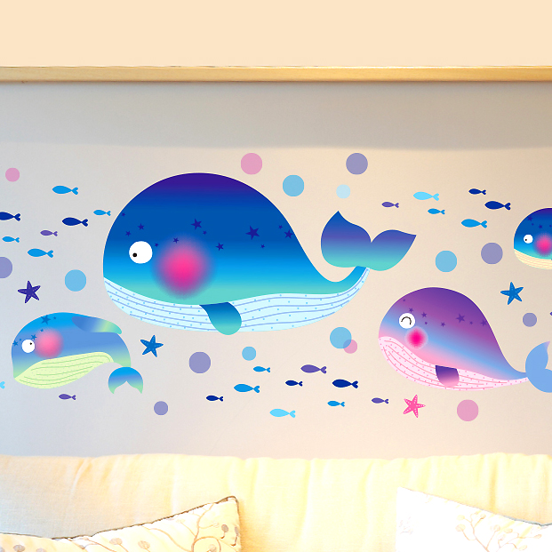 Removable wall stickers cartoon cute blue whale marine fish wall stickers bathroom toilet children's room glass tile stickers