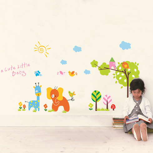 Removable wall stickers living room glass wall stickers foil giraffe cartoon wall stickers wall stickers environmental protection