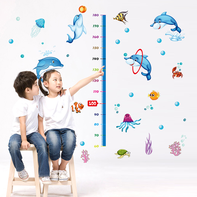 Removable wall stickers measuring height stickers children's room wallpaper adhesive sticker dolphin nursery wall decor