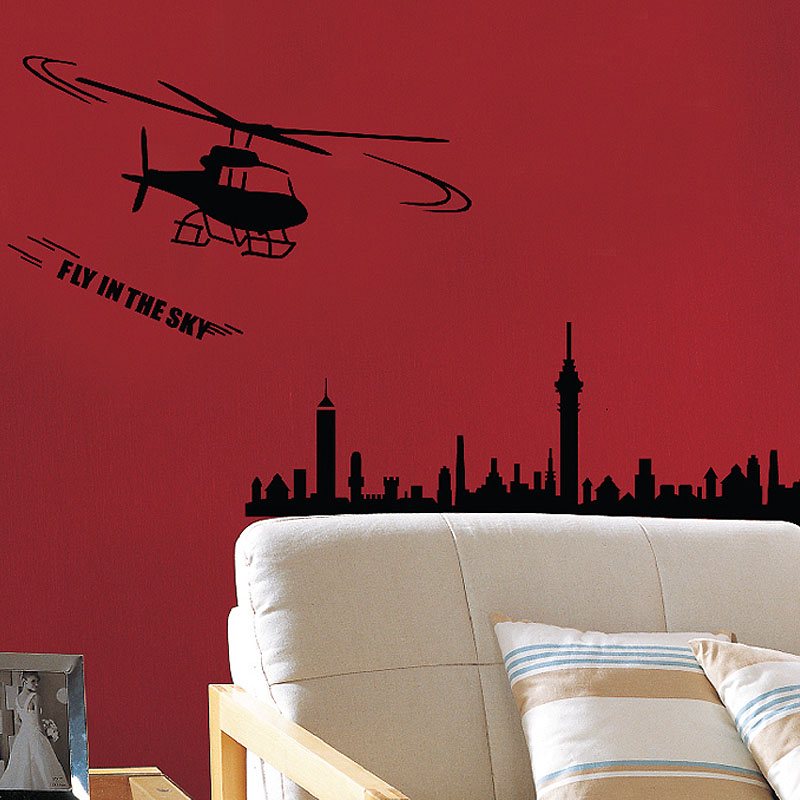 Removable wall stickers pvc wall stickers can be removed silhouette aircraft painting wall stickers living room bedroom background wall decoration waterproof