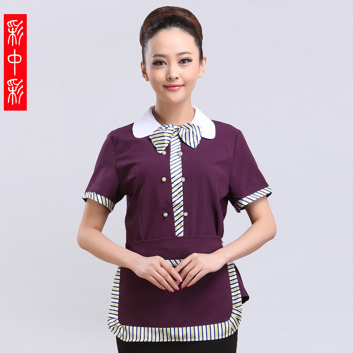 Restaurant waiter overalls summer female hotel restaurant sleeved overalls hotel restaurant fast food restaurant uniforms
