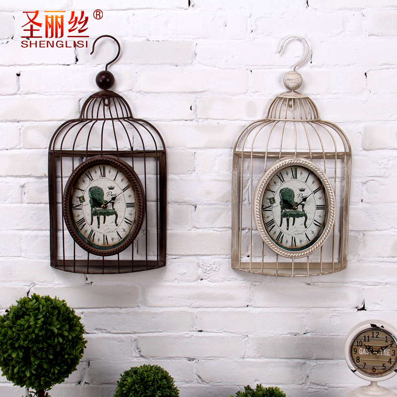 Retro nostalgia industrial wind watches creative personality cafe bar iron birdcage wall mural decorations soft