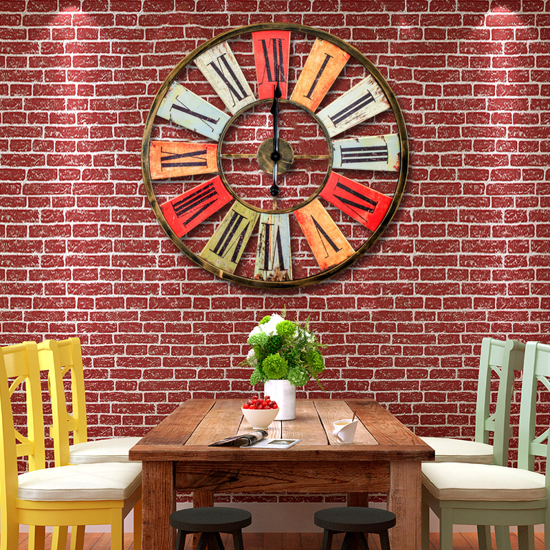 Retro rustic living room decorative wall hanging wall clock simple clock clock personalized creative home decorative wall hanging