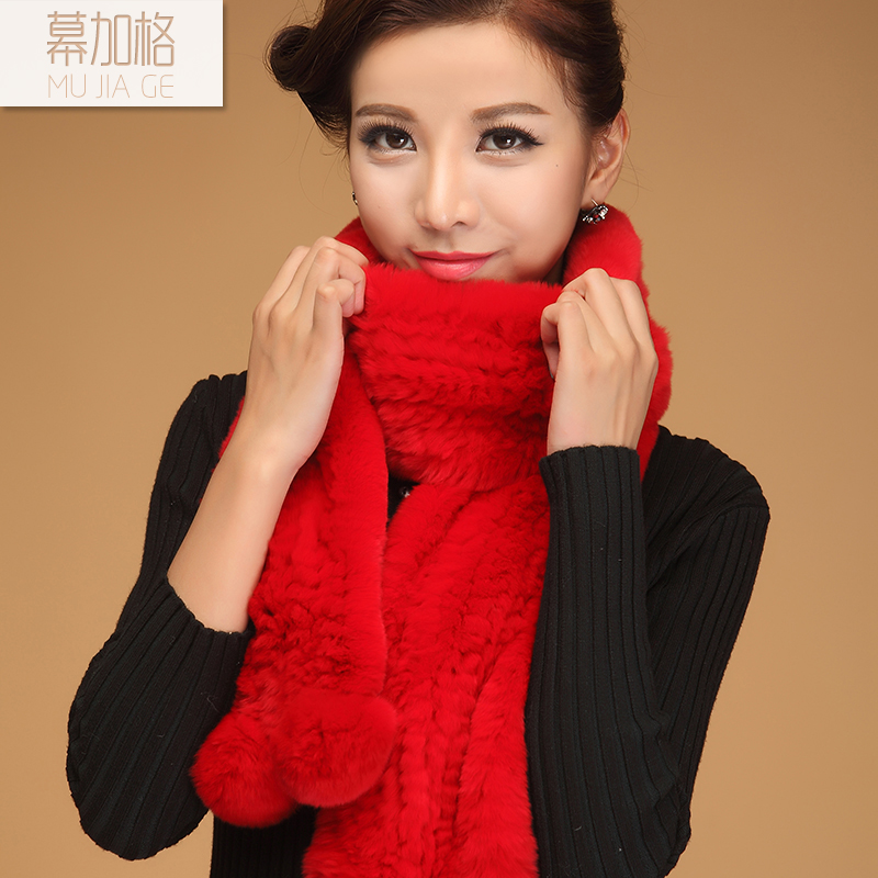 Rex rabbit fur scarf female winter ms. warm fur wool knit scarf solid color scarf long scarf korean version of the fall and winter youth