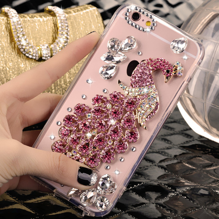 Rhinestone cell phone protective shell oppon3 n3 n5207 mobile phone sets lanyard transparent shell slim hard shell female tide