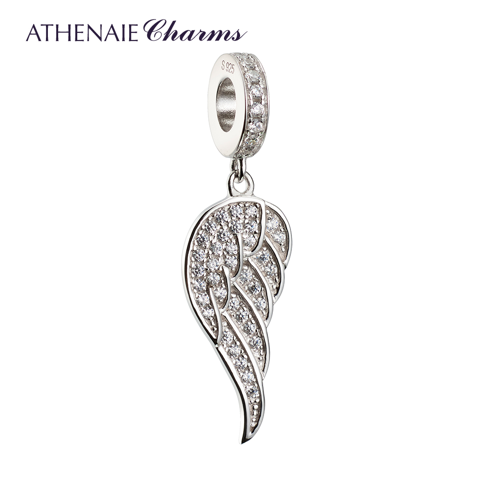 Rhodium silver inlay zircon athenaie925 concessions for the silver angel wings pendant in sterling silver beads diy chain necklace female couple models
