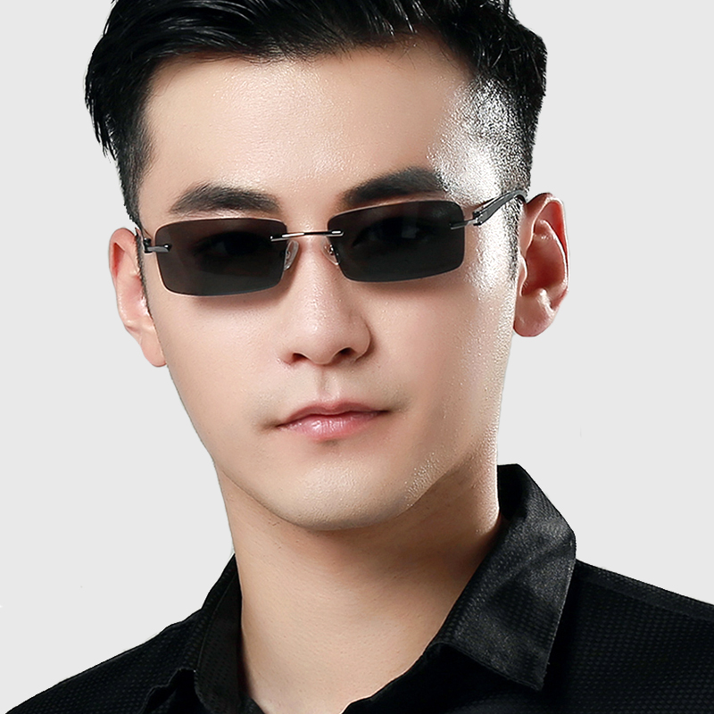 Rimless sunglasses men polarizer uv sunglasses myopia sunglasses resin light chauffeur driving mirror 58026