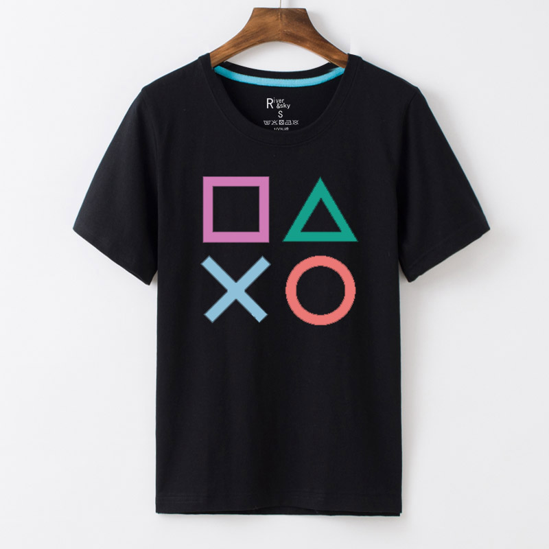 River & skyps diabla cable ps4 hong kong version of the 20 anniversary of the game t-shirt buttons pattern teenagers cotton round neck t-shirt