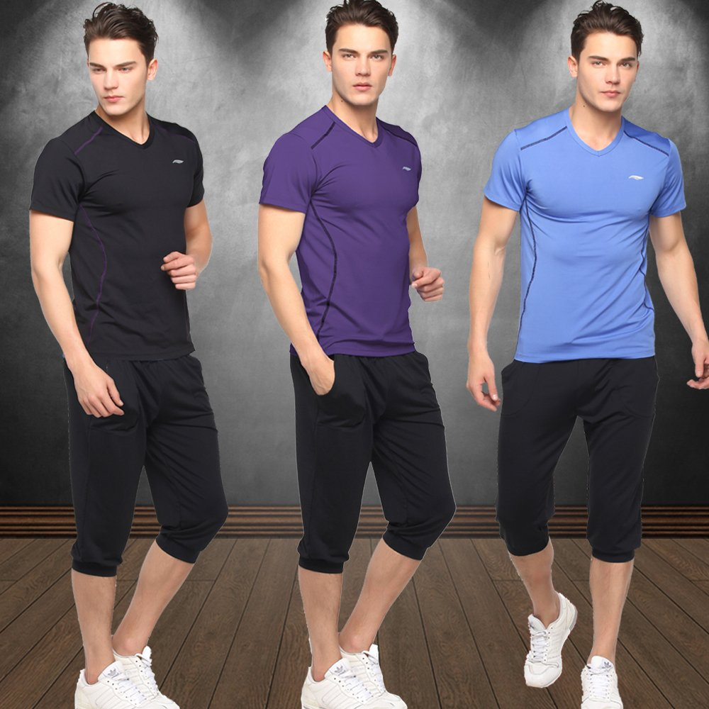 Road iraqi vatican workout gym sportswear wicking tights workout clothes big yards short sleeve spring and summer men's pants suit