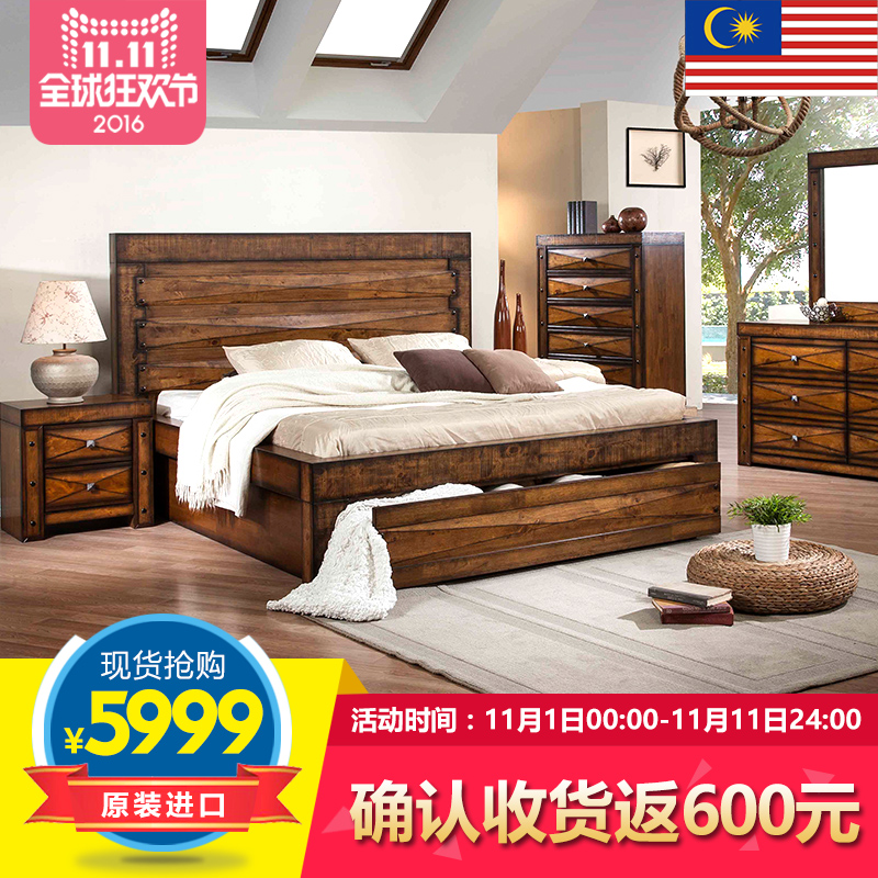 Roca nest southeast asian style all solid wood double bed 1.8 m bed bedside cabinet american country bed imported