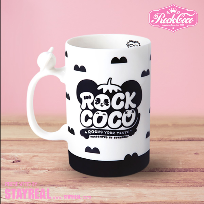 Rockcoco sweet bobo love the earth mug-black and white glass