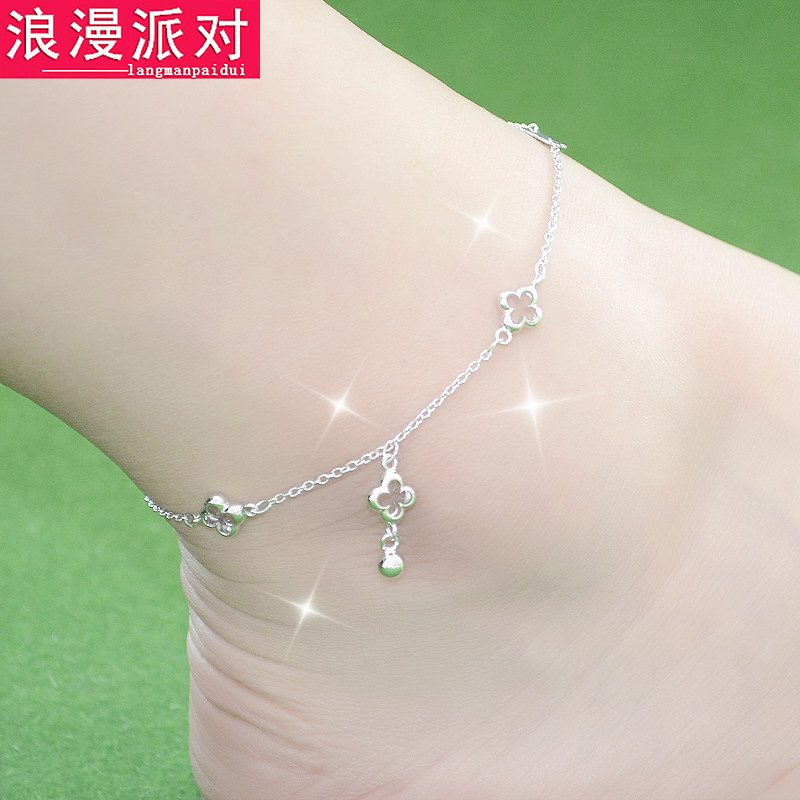 Romantic 925 silver anklets female korean fashion lovely temperament ethnic anklets anklet pure silver jewelry
