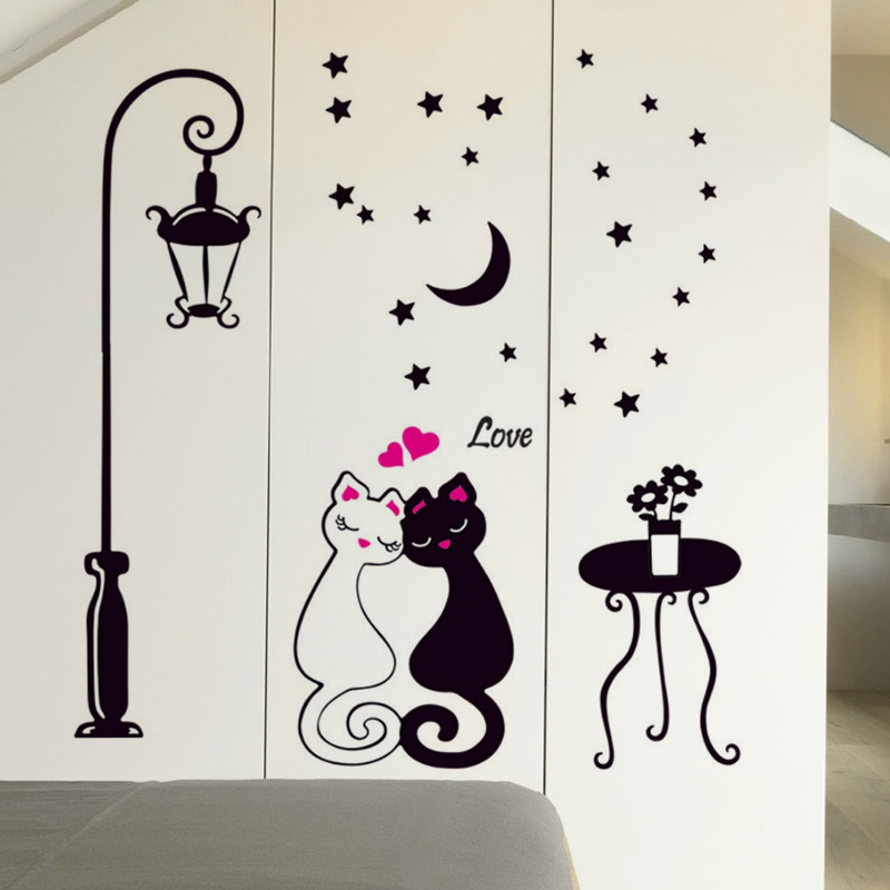 Romantic cartoon cat lovers klimts indoor room bedroom background wall decorations wall stickers wall stickers