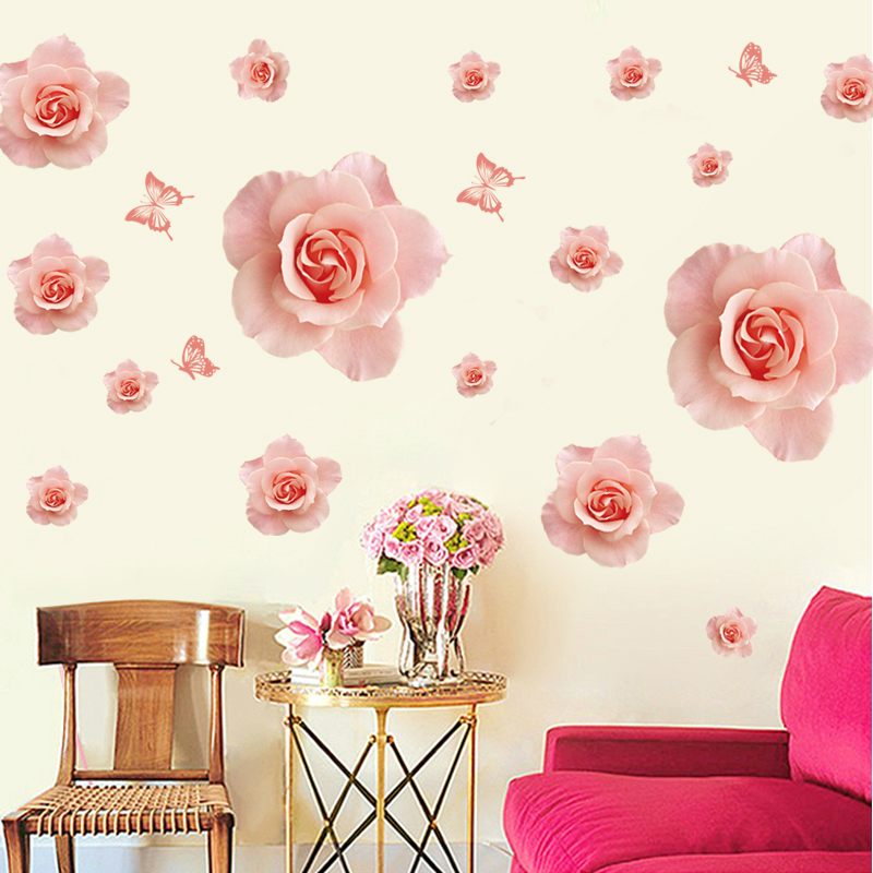 Romantic roses klimts adhesive entrance ceiling wallpaper living room sofa bedroom tv background wall stickers