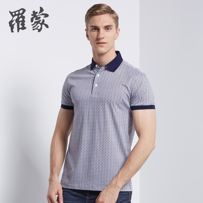 Romon men's short sleeve t-shirt polo shirt male summer middle-aged father loaded cotton men short sleeve t-shirt plaid t-shirt 2T54197