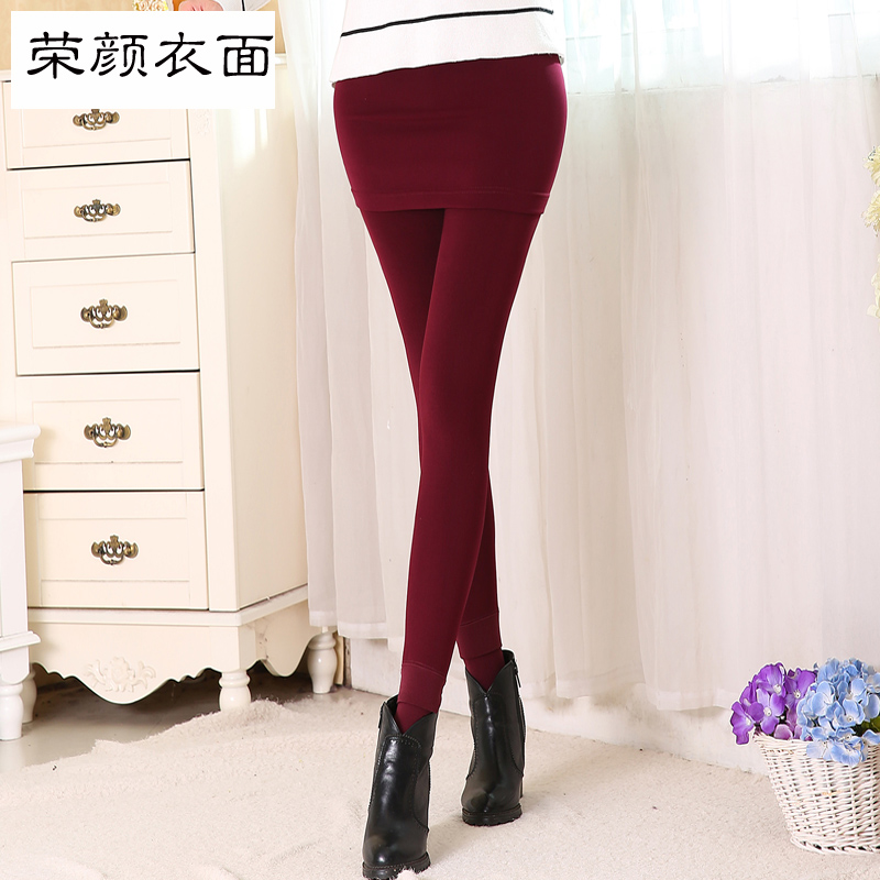 Rong yan clothing surface seamless integration plus thick velvet leggings fake two culottes package hip culottes outer wear does not hook wire