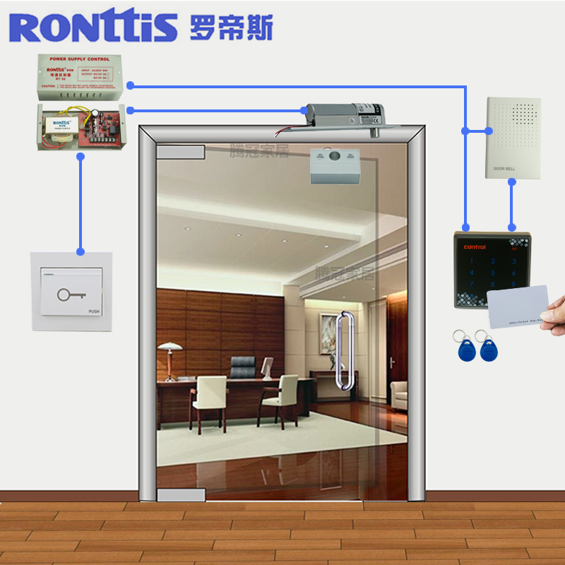 Ronttis luo disi access control system kit/touch password swipe card lock/glass door electric locks the fire door
