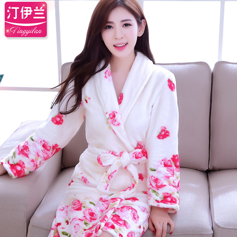 Get Quotations · Rose flower white thick flannel robe bathrobe coral velvet  pajamas women long sleeve autumn and winter 0d5abece3